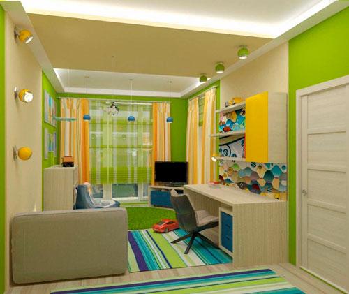 детская комната дизайн 10 кв м прямоугольная