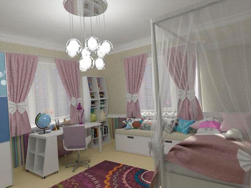 прямоугольные детские комнаты для девочек дизайн