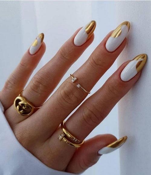 золотой дизайн ногтей 2021 осень миндаль 3