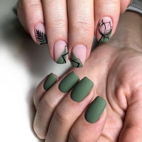 дизайн ногтей осень на короткие ногти фото