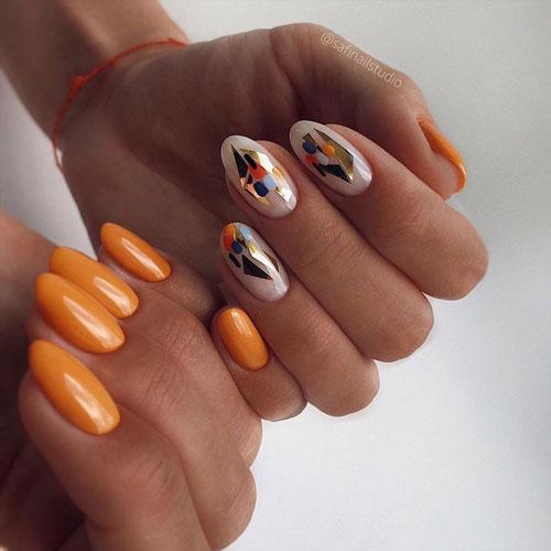 дизайн ногтей гель осень фото