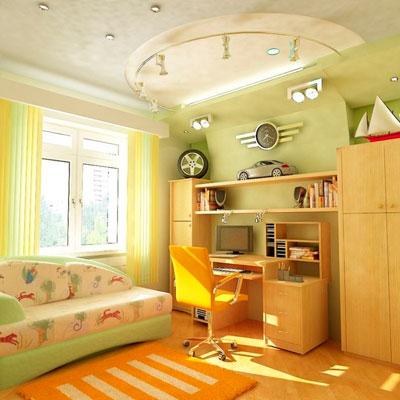Дизайн прямоугольной комнаты для ребенка в ярких цветах