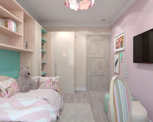 Дизайн прямоугольной комнаты для ребенка в нежных тонах
