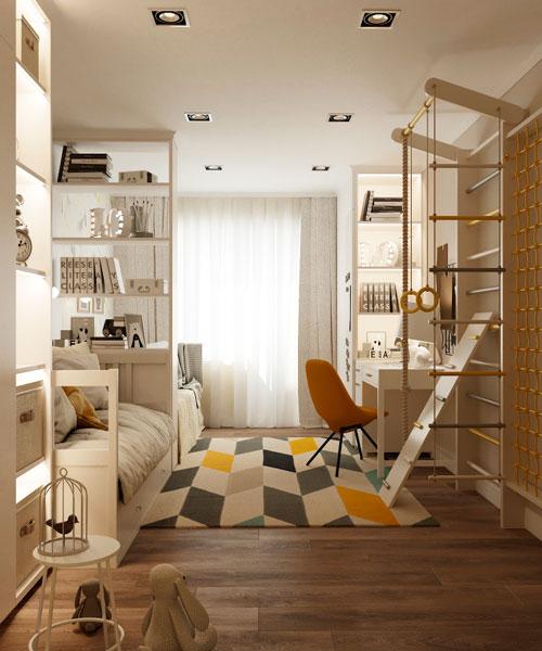 Дизайн прямоугольной комнаты для ребенка 11 лет