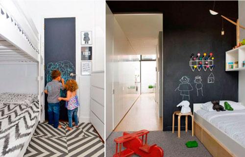 Дизайн прямоугольной комнаты для ребенка с грифельной доской