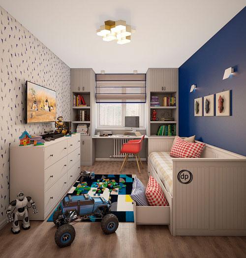 Дизайн прямоугольной комнаты для мальчика