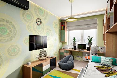 Дизайн детской прямоугольной комнаты яркий
