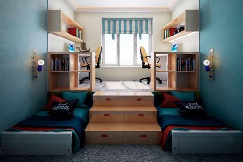 Дизайн прямоугольной комнаты для двух детей
