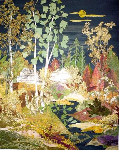 картины из листьев и цветов своими руками пейзажи для начинающих 4