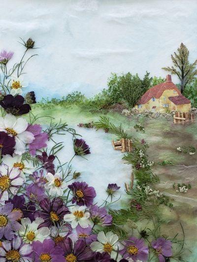 картины из листьев и цветов своими руками пейзажи 8