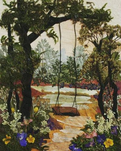 картины из листьев и цветов своими руками пейзажи 3