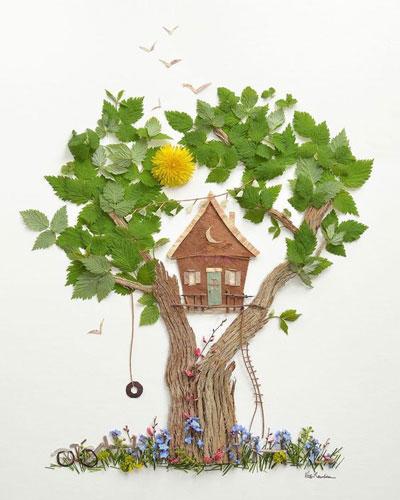 картины из листьев для детей 4