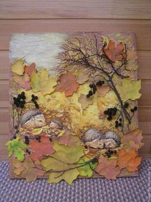 картины из листьев и цветов своими руками для детского сада