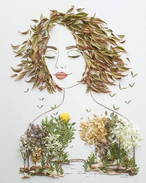 картины из листьев для детей 3