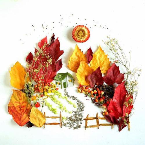 картины из листьев и цветов своими руками на тему осень 5