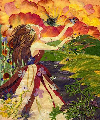 Картины из листьев и цветов на тему осень 9
