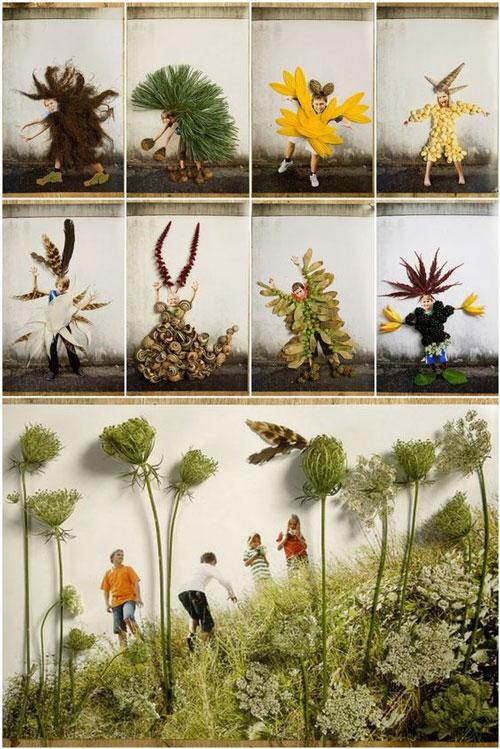Картины из листьев и цветов на тему осень 8
