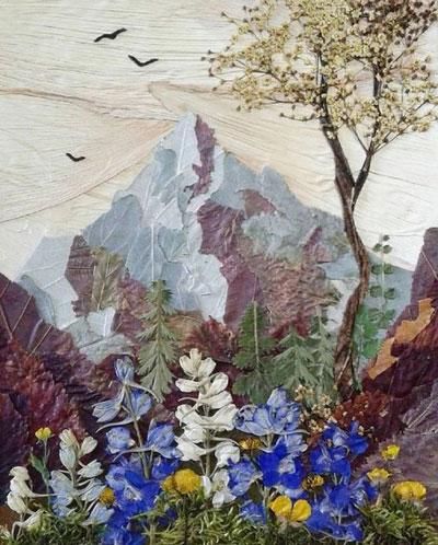 Картины из листьев и цветов на тему осень 7