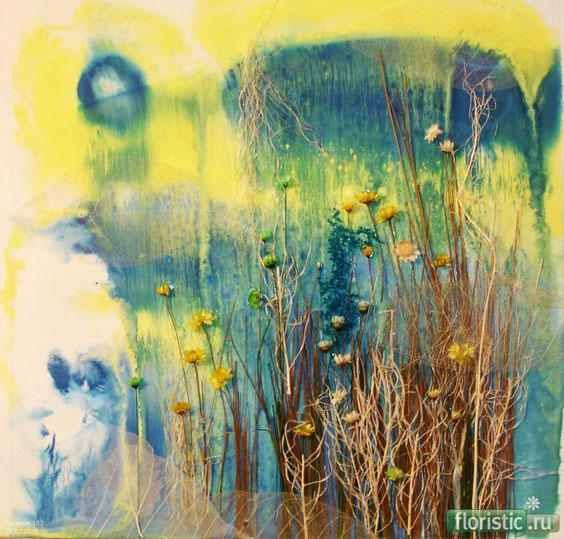 Картины из листьев и цветов на тему осень 6