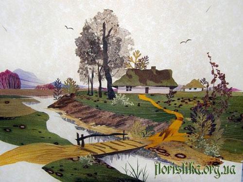 Картины из листьев и цветов на тему осень 3