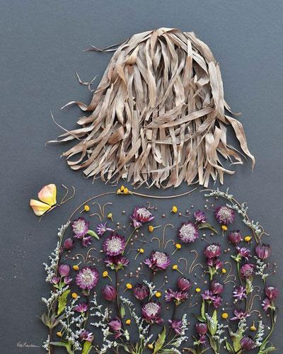 Картины из листьев и цветов своими руками 5