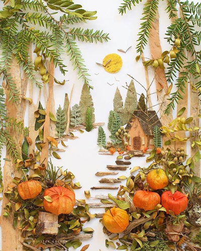 картины из листьев и цветов своими руками пейзажи для начинающих 9