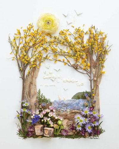 картины из листьев и цветов своими руками пейзажи для начинающих 8