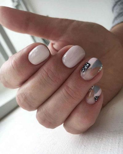 осенний маникюр на короткие миндалевидные ногти