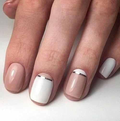 легкий осенний маникюр на коротких ногтях 9