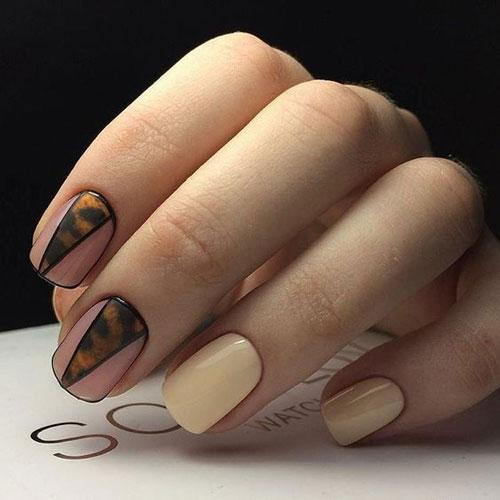 легкий осенний маникюр на коротких ногтях 7