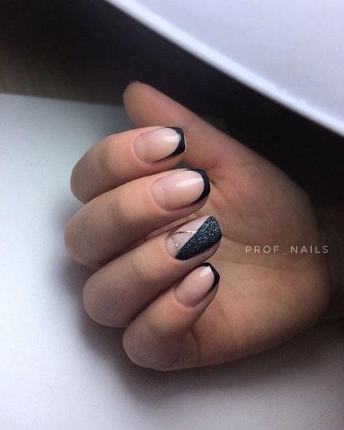 легкий осенний маникюр на коротких ногтях 6