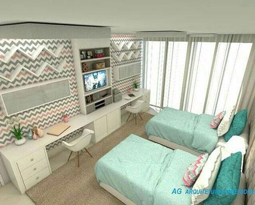 обустройство маленькой детской комнаты для двоих 2