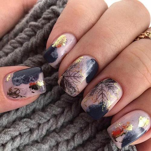Модные тенденции дизайна ногтей осенью 4