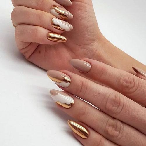осенний дизайн ногтей миндальной формы 5