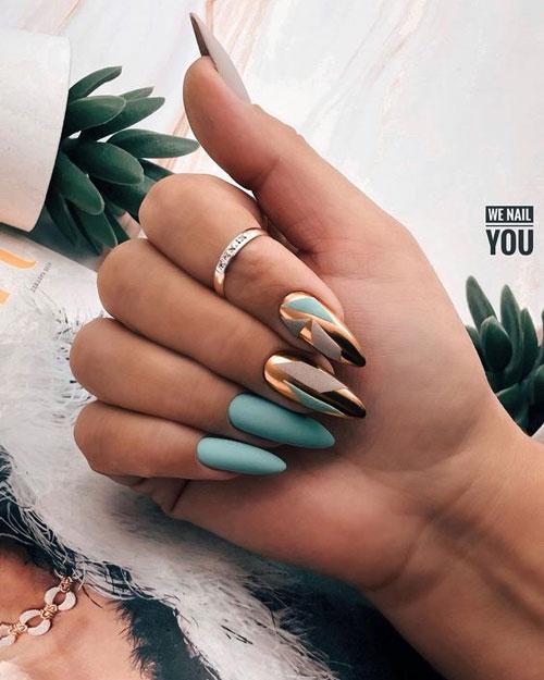 осенний дизайн ногтей миндальной формы 4