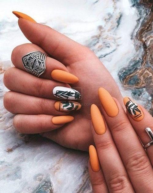 дизайн ногтей миндальной формы осень 7