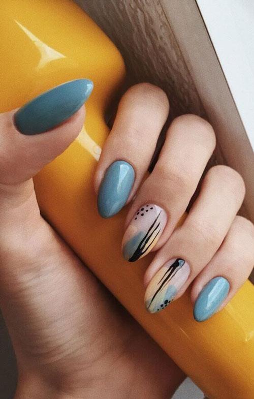 дизайн ногтей миндаль 2021 осень фото новинки на короткие ногти 9