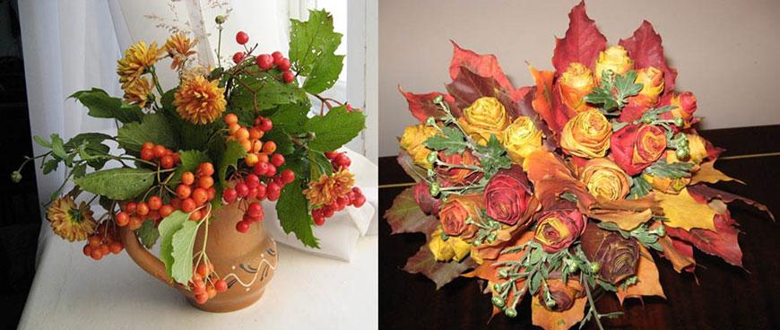 осенний букет из листьев и ягод 7