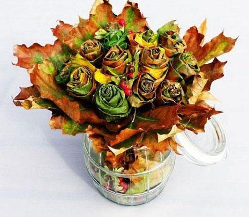 осенний букет с яблоками и листьями 3