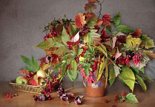 как сохранить осенние листья в букете 2