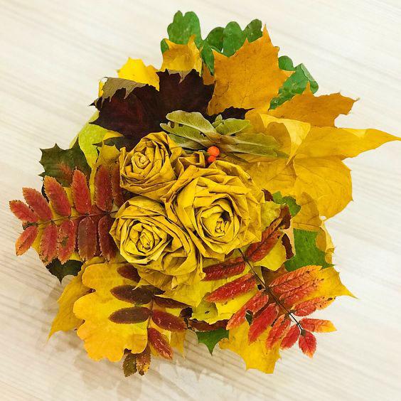 как сохранить осенние листья в букете 6