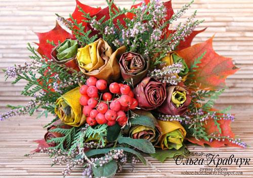 осенний букет из листьев и ягод 5
