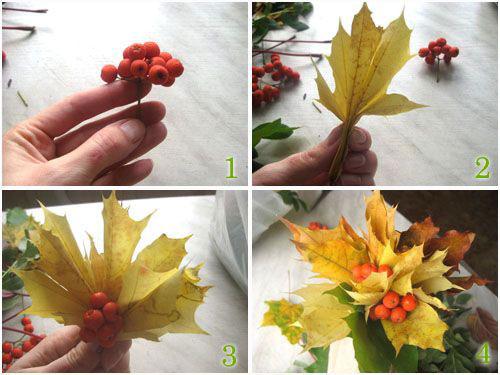 осенние букеты фото из цветов и листьев