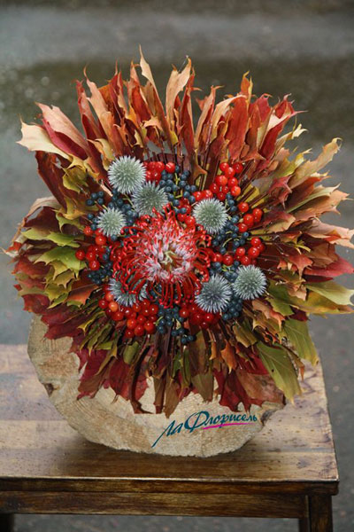осенние букеты фото из цветов и листьев 2