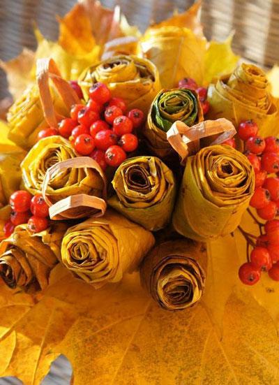 осенние букеты фото из цветов и листьев 6