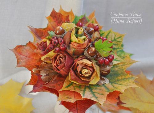 букет из шишек и осенних листьев поделка 8