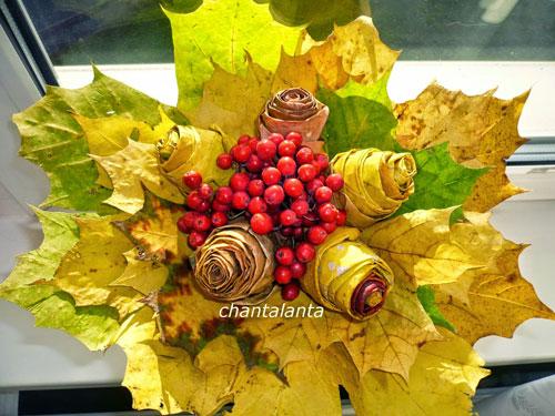 осенний букет из листьев и ягод 2