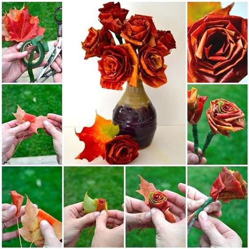 осенний букет из листьев и ягод 9