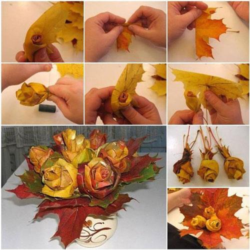 осенний букет из листьев и ягод 10