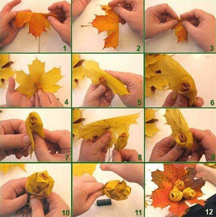 букет из осенних листьев фото